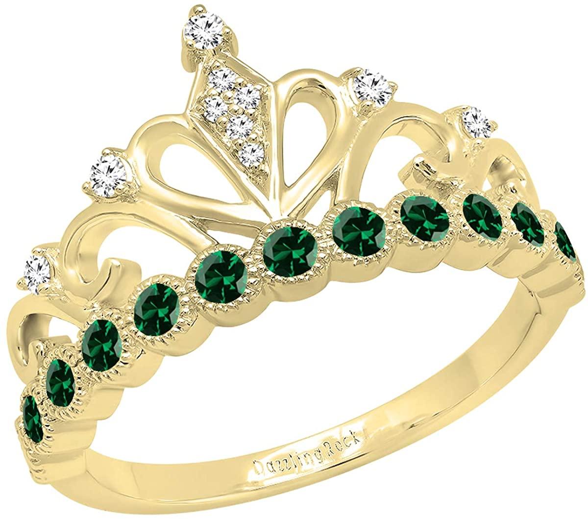 Dazzlingrock Collection 10K Round Lab Created Gemstone & White Diamond Ladies Crown Engagement Ring 1/2 CT, Yellow Gold