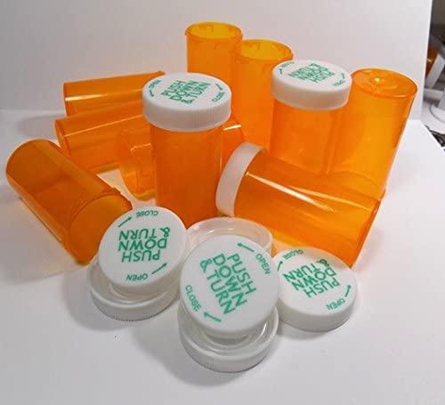 Plastic Prescription Amber Vials/Bottles 400 Pack w/Caps 8 Dram Size-New