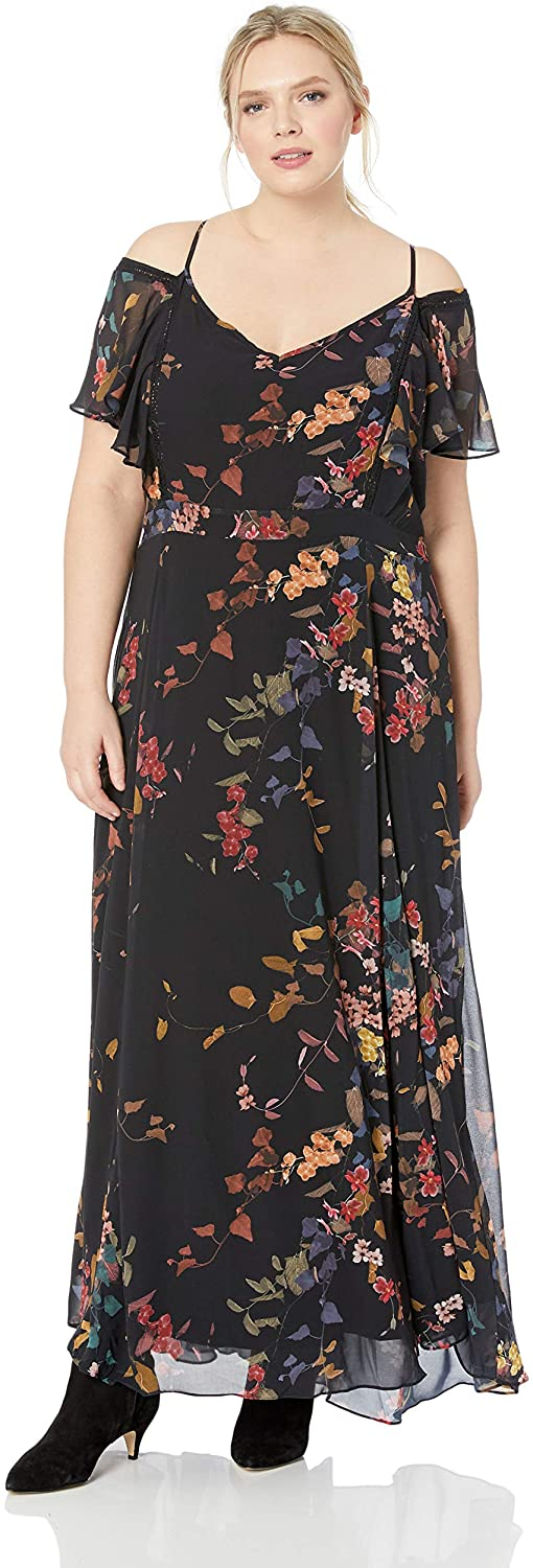 City Chic Womens Apparel Womens Plus Size Cold Shoulder Floral Detailed Maxi Dress