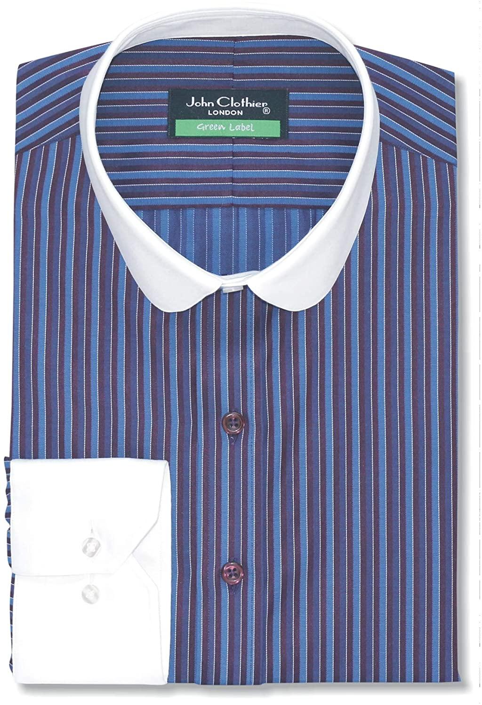 Peaky Blinders Penny Collar Mens Bankers Shirt Multi Stripes Long Sleeves Single Cuff Gents 300-38