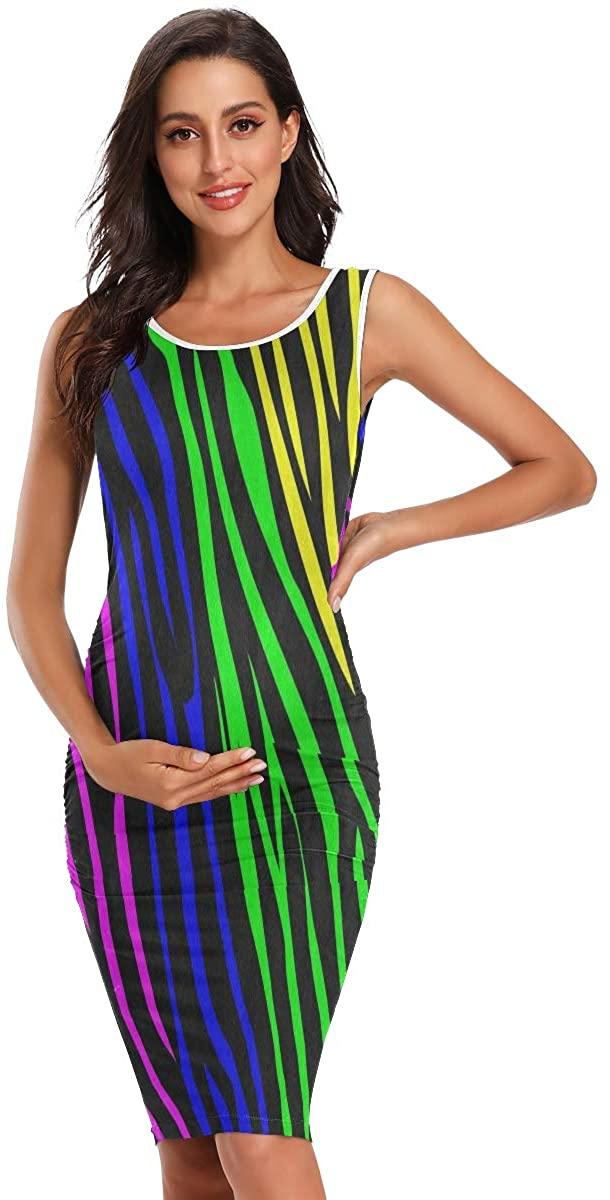 SLHFPX Rainbow Animal Zebra Print Women's Maternity Dresses Casual Pregnancy Dresses Bodycon Clothes Mommy