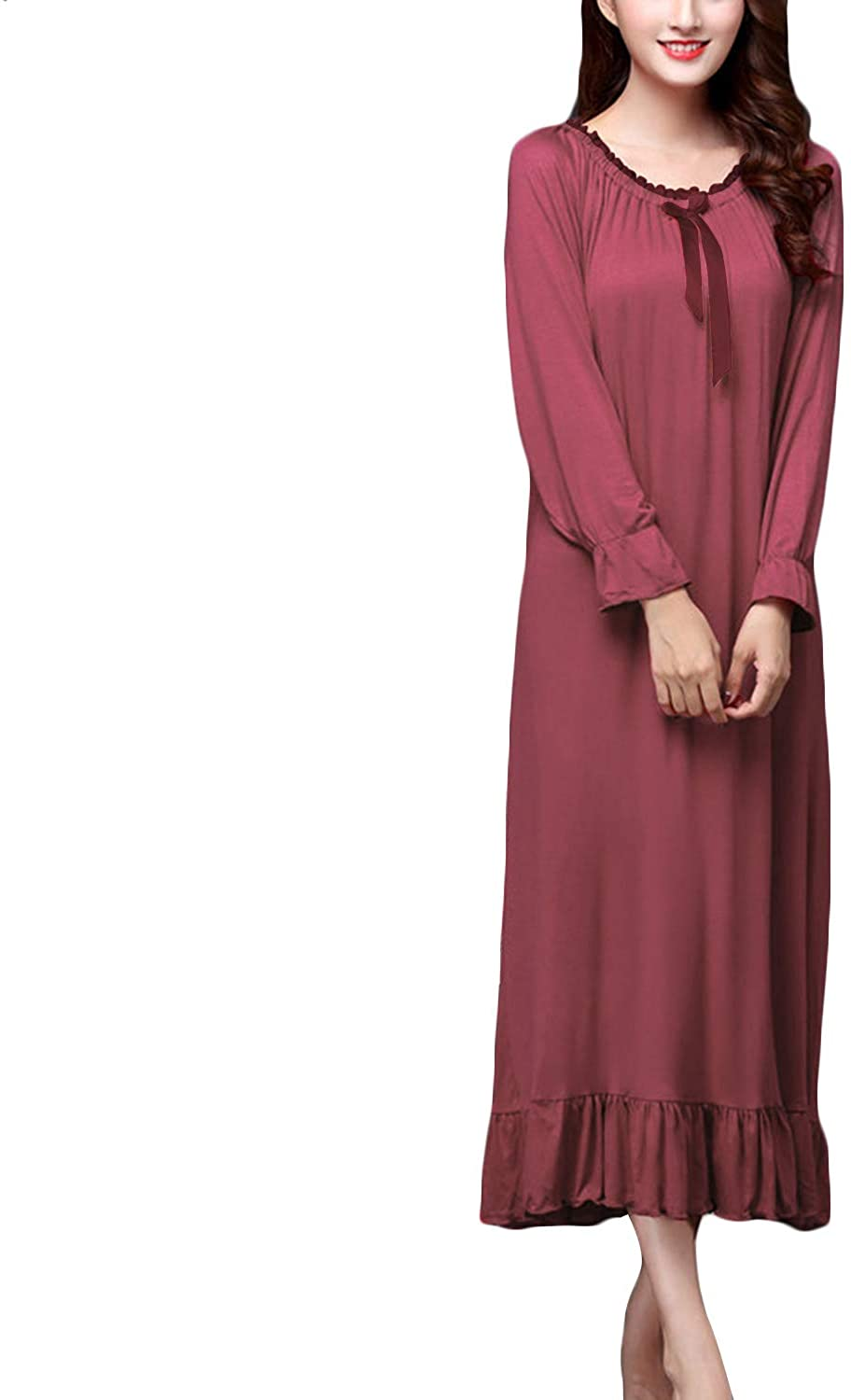 Lu's Chic Women's Victorian Nightgown Long Sleeves Cotton Sleep Dress Vintage Ruched Nighty