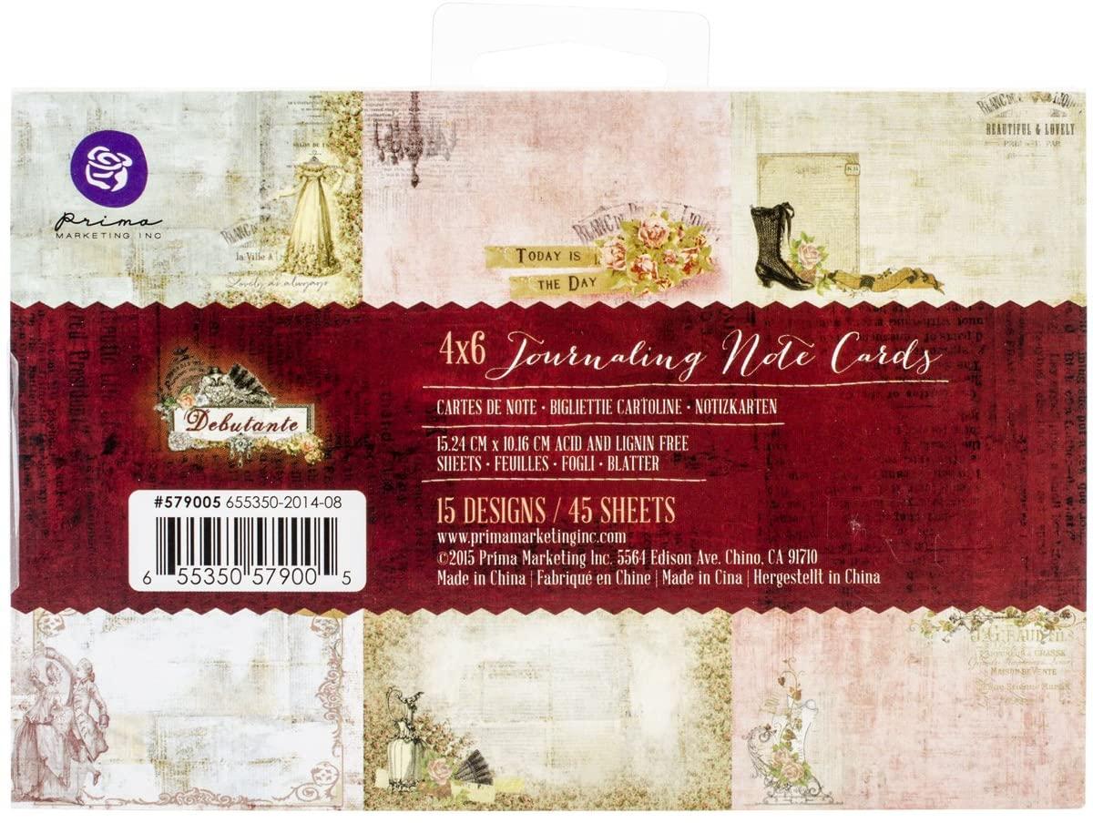 Prima Marketing 579005 Debutante Journaling Notecards, 4 x 6