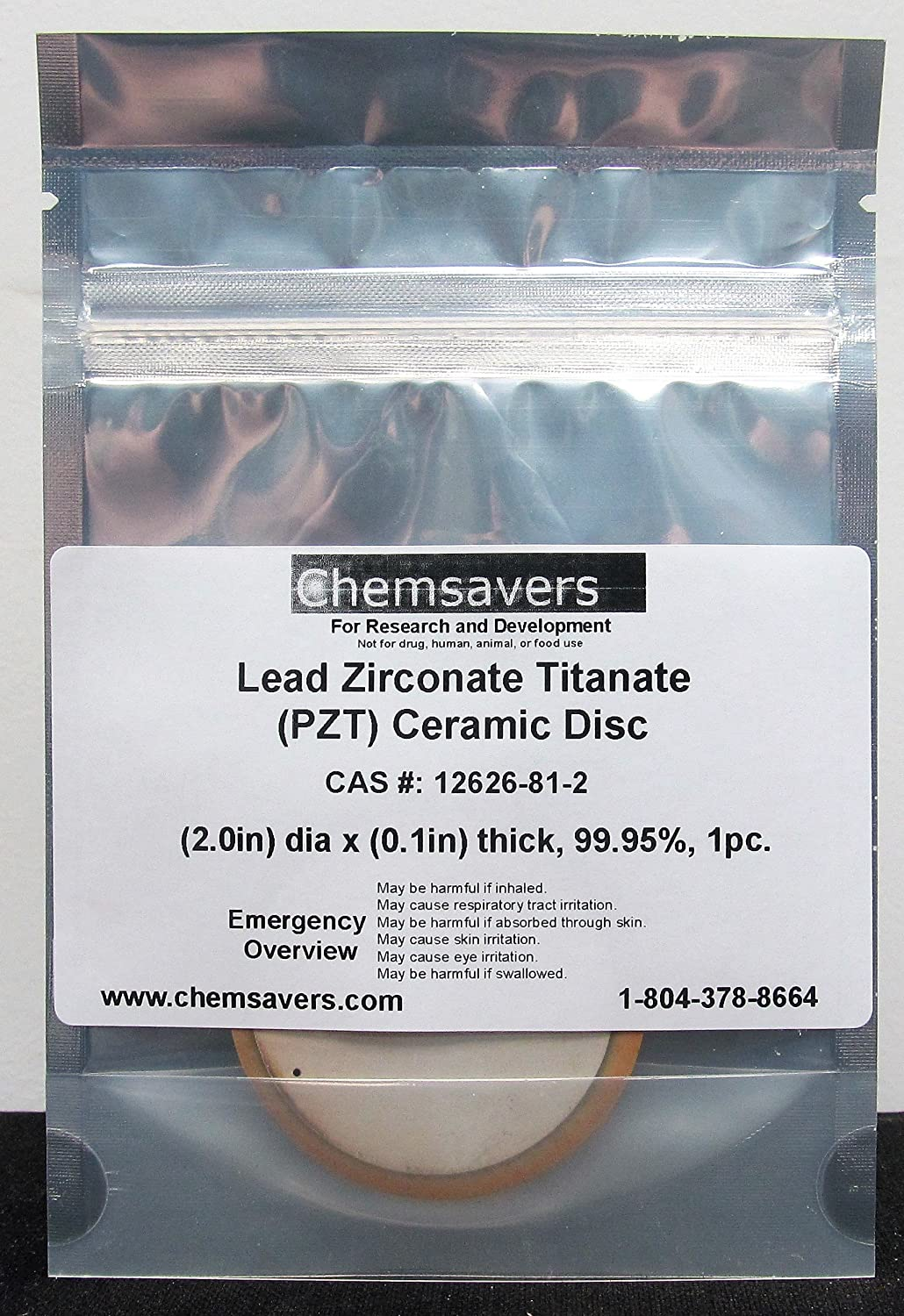 Lead Zirconate Titanate (PZT), Ceramic Disc (2.0in) Dia x (0.1in) Thick, 99.95%, 1pc.