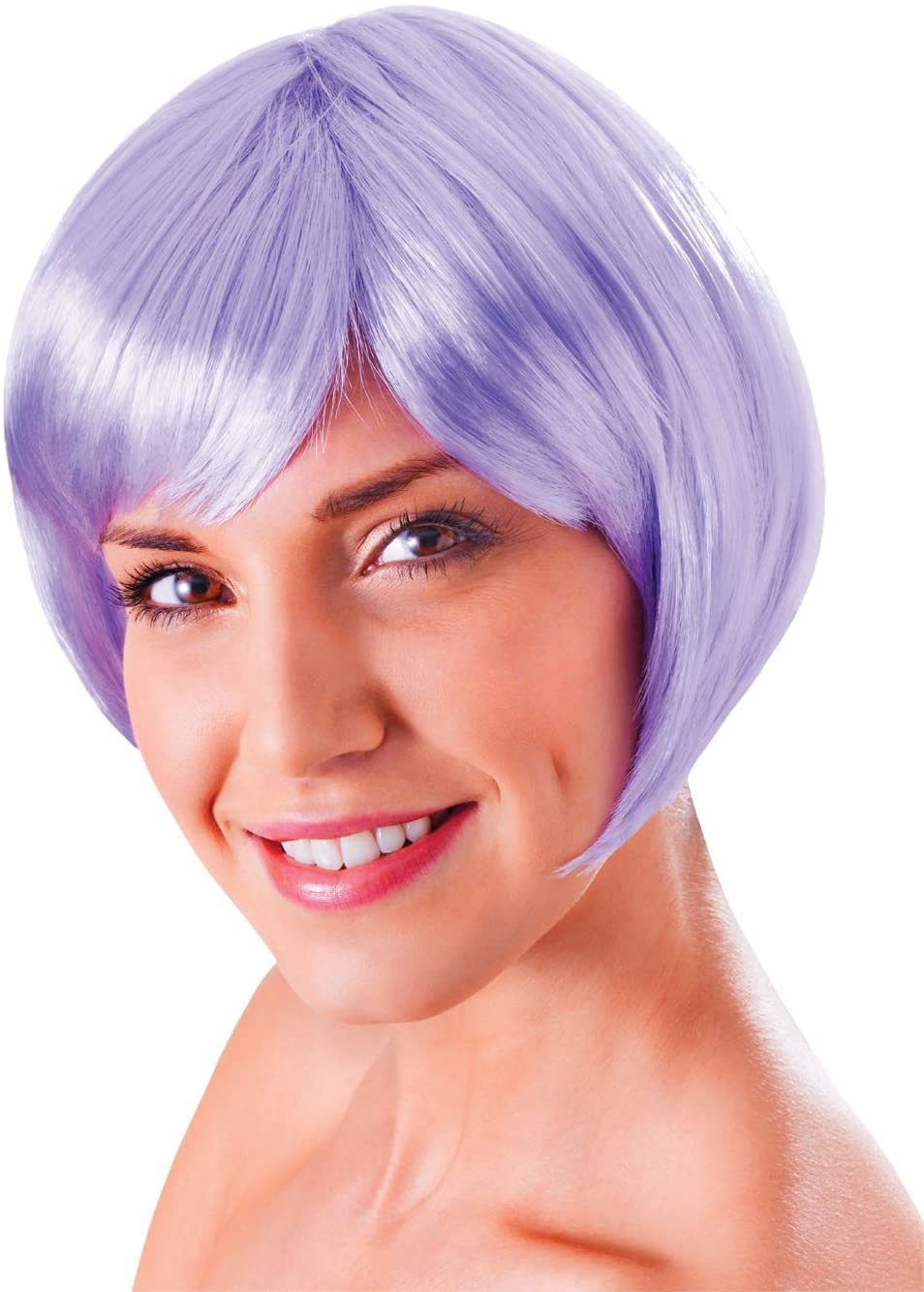 Bristol Novelty BW866 Flirty Flick Wig, Womens, Lilac, One Size