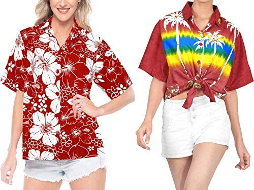 LA LEELA Women's Plus Size Golf Hawaiian Shirt Beach Camp Aloha Shirt Work from Home Clothes Women Beach Shirt Blouse Shirt Combo Pack of 2 Size X - Large