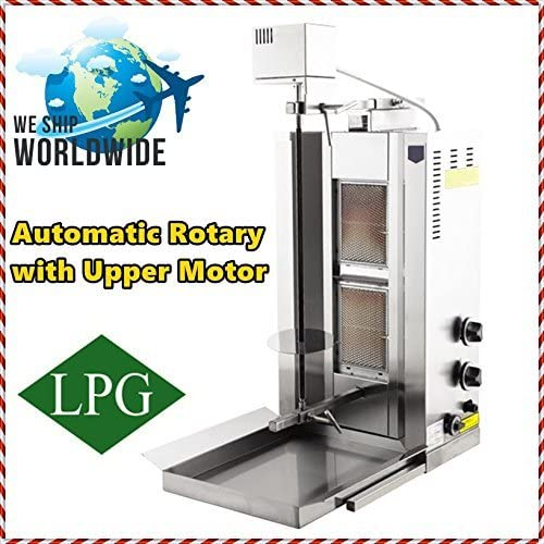 AUTOMATIC ROTATING FULL SET Meat Capacity 25 kg / 55 lbs 2x PROPANE GAS BURNERS Spinning Grills Vertical Broiler Shawarma Gyro Doner Kebab Tacos Al Pastor Machine Commercial for Home Use