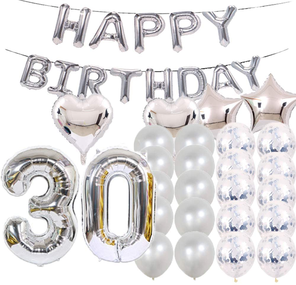 Sweet 30th Birthday Decorations Party Supplies,Silver Number 30 Balloons,30th Foil Mylar Balloons Latex Balloon Decoration,Great 30th Birthday Gifts for Girls,Women,Men,Photo Props