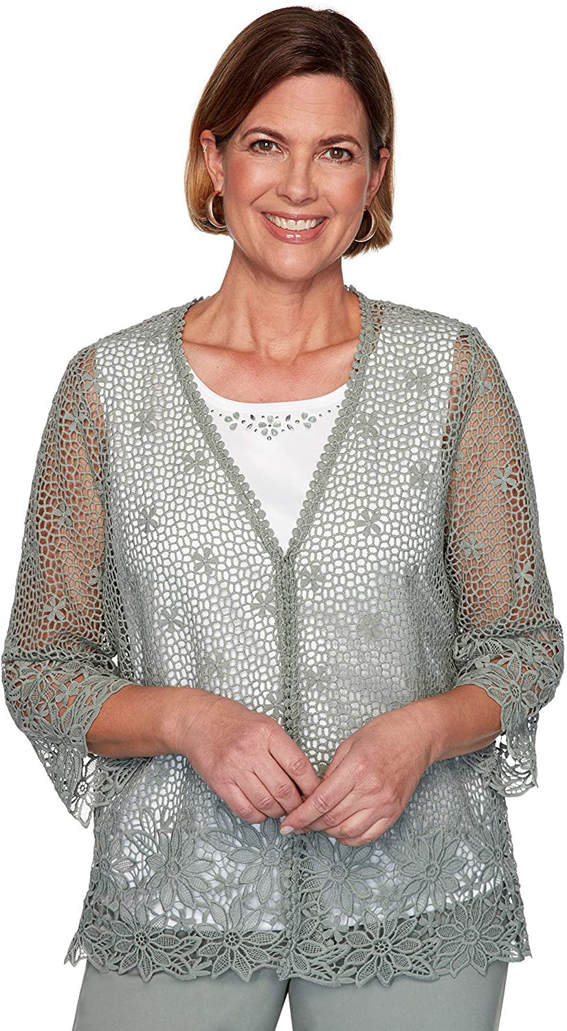 Alfred Dunner Chesapeake Bay 2 Piece Crochet Sweater and Shell