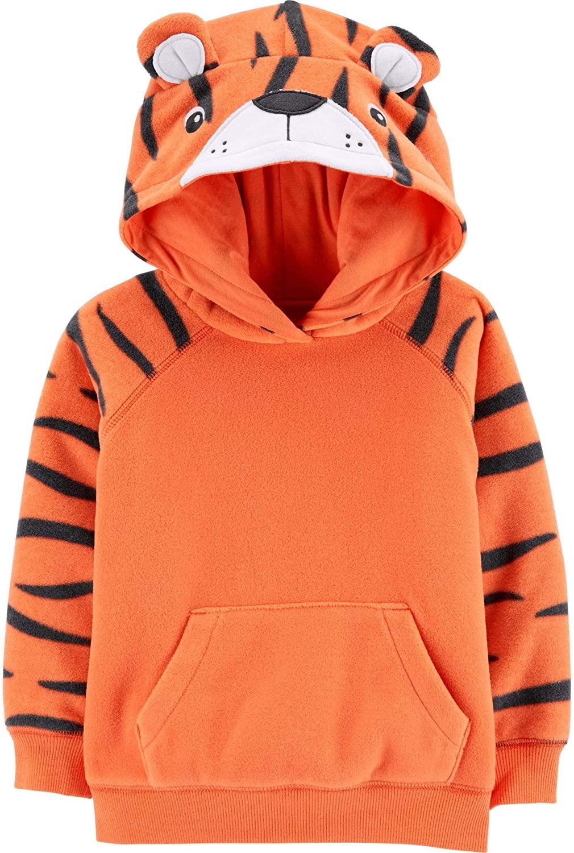 Carter's Boy's Pullover Tiger Fleece Character Hoodie Orange, Size 24 Months