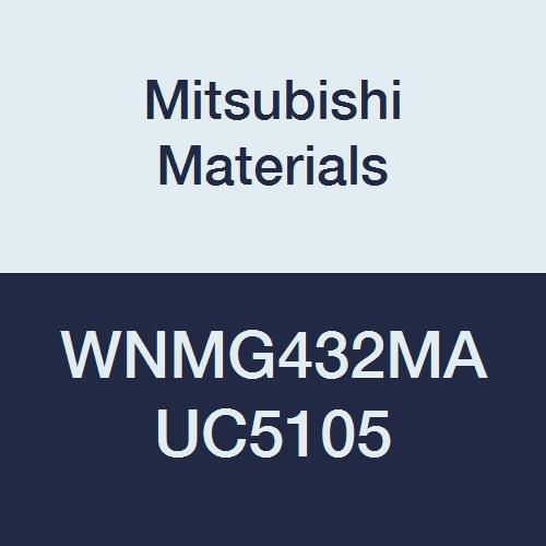 Mitsubishi Materials WNMG432MA UC5105 Coated Carbide WN Type Negative Turning Insert with Hole, Trigon, Grade UC5105, 0.5