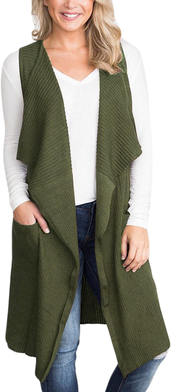 Sidefeel Women Sleeveless Open Front Knitted Long Cardigan Sweater Vest Pocket Small Army Green