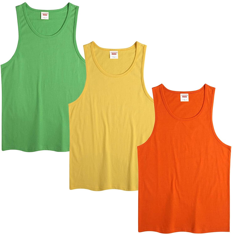 LANBAOSI Girls Boys Tank Tops 100% Cotton Ultra Soft Sleeveless Crew Neck Undershirts 3 Pack