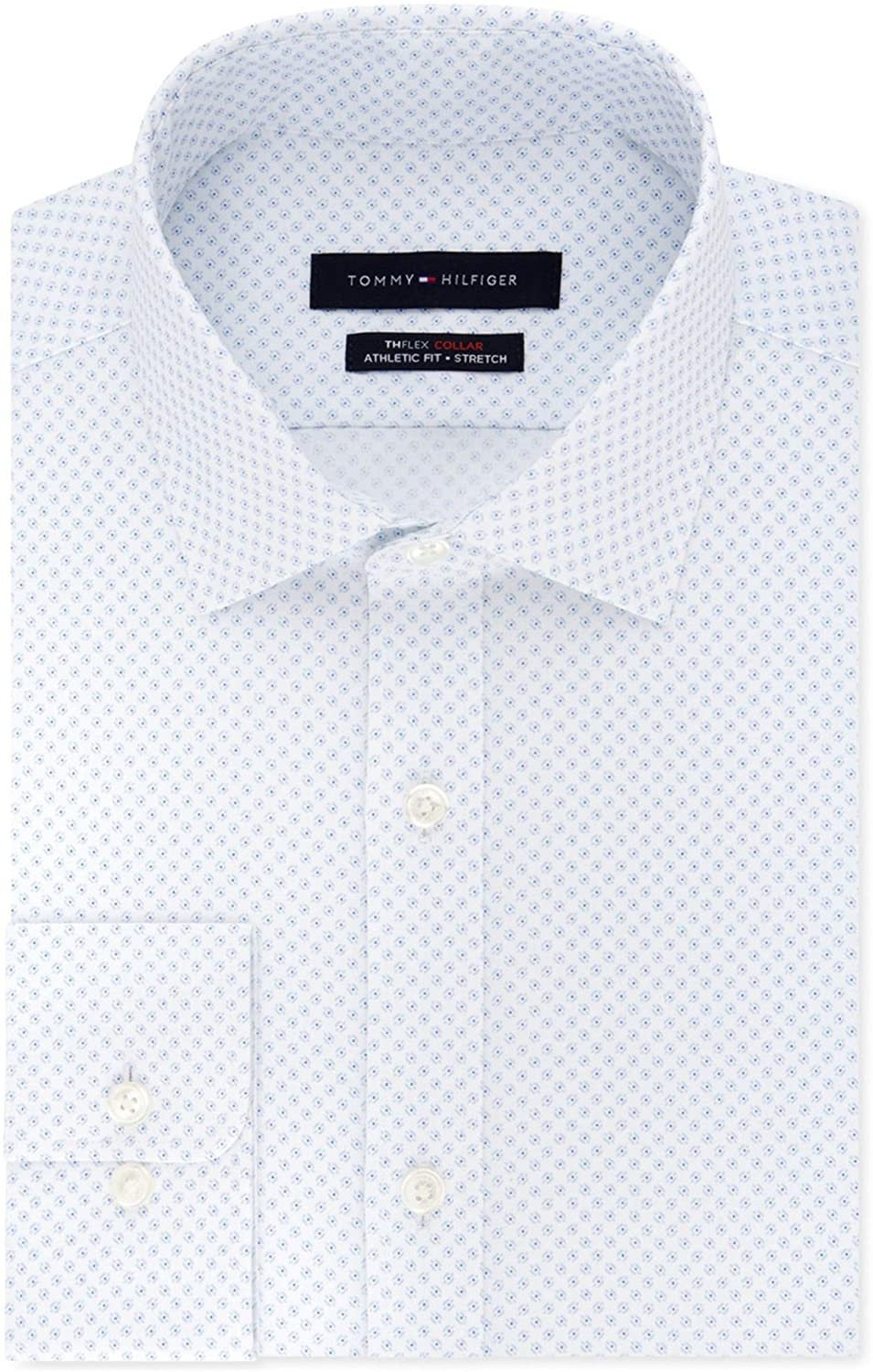 Tommy Hilfiger Mens Flex Collar Button Up Dress Shirt