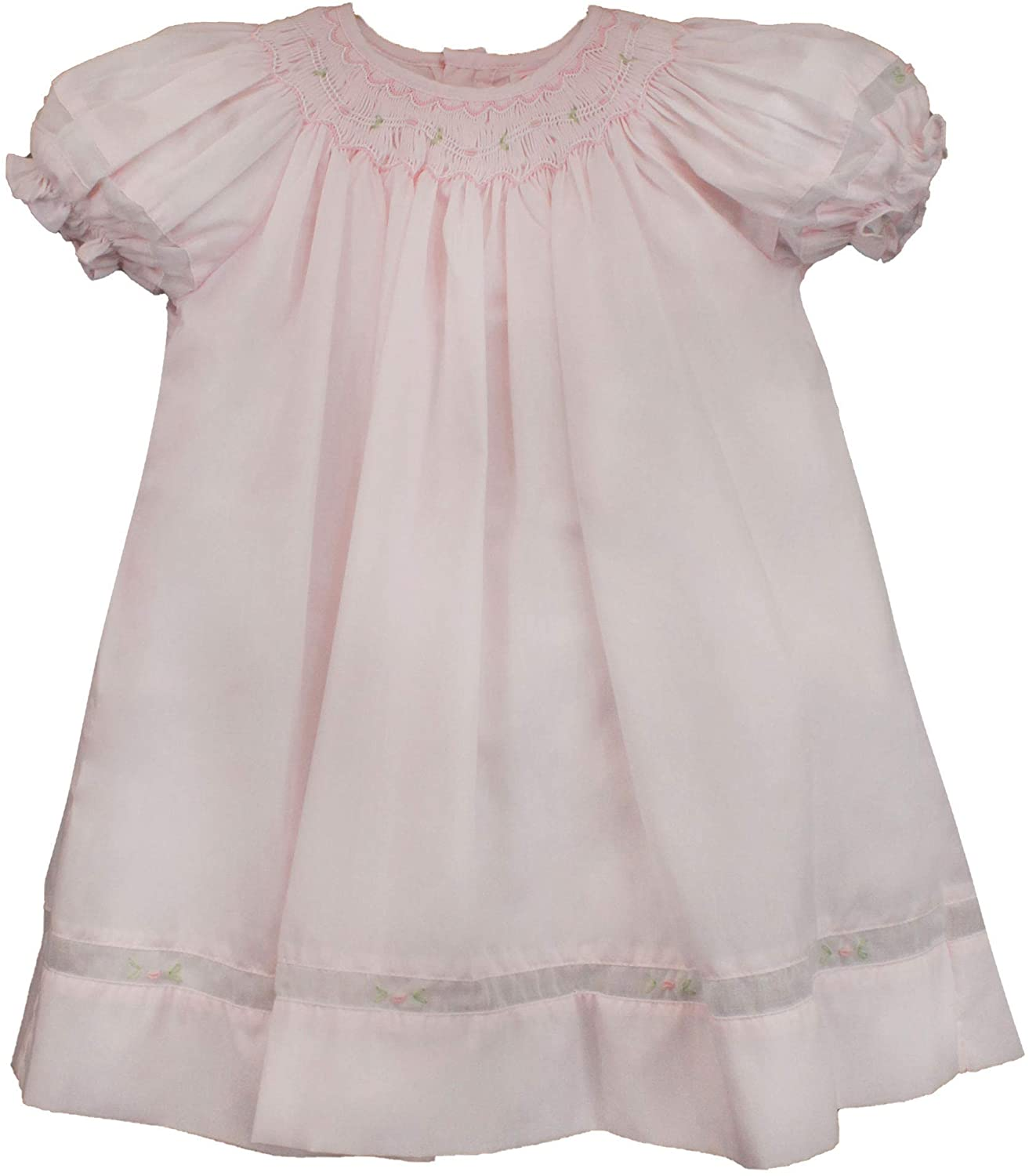 Petit Ami Baby Girls' Smocked Daygown with Voile Insert, 18 Months, Pink