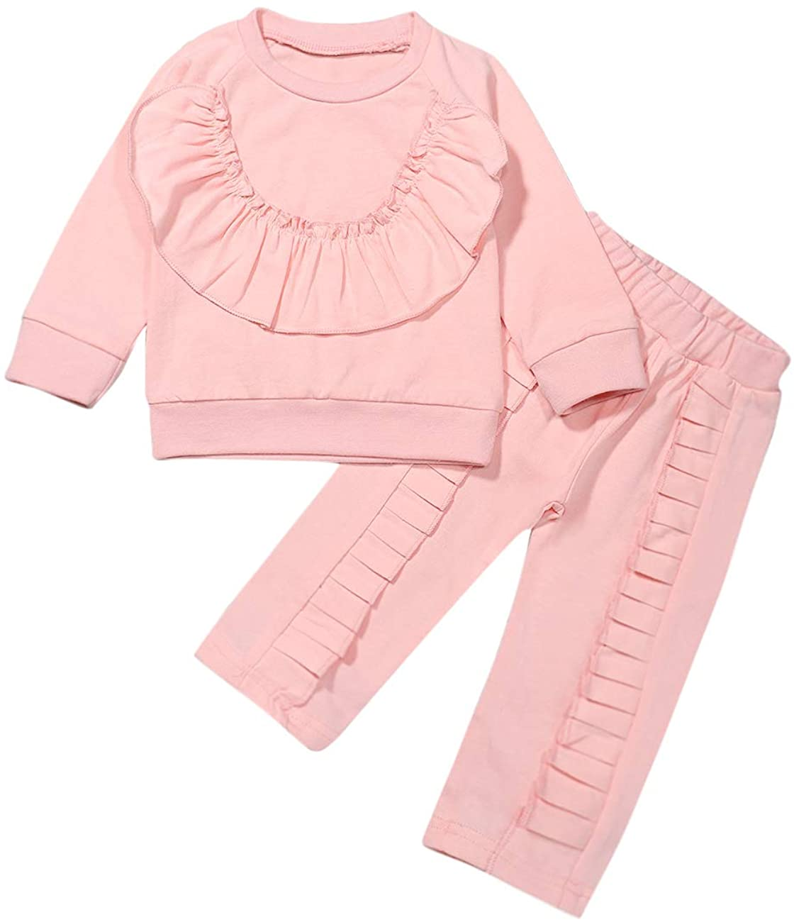 Toddler Baby Girl Clothes Long Sleeve Cute Ruffle Sweatshirt Pullover Top and Pants Outfit Set