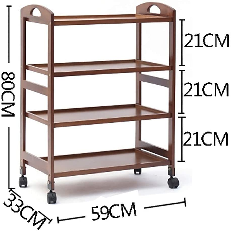 HTL Serving Cart, Storage Rack,-Medical Cart Tool 4 Tier Beauty Salon Cart for Spa Hairdresser Tattoo, Wooden Kitchen Dining Trolley with Universal Brake Wheel, Hotel Catering Cart,Brown