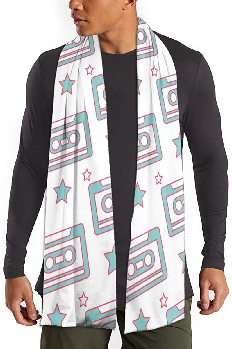 Pattern Retro Cassette Tape Unisex Warm Soft Light Neckerchief Travel Scarf Winter Shawls