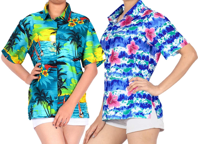 LA LEELA Women's Beach Hawaiian Blouse Shirt for Girls Short Sleeves L Work from Home Clothes Women Blouse Pack of 2