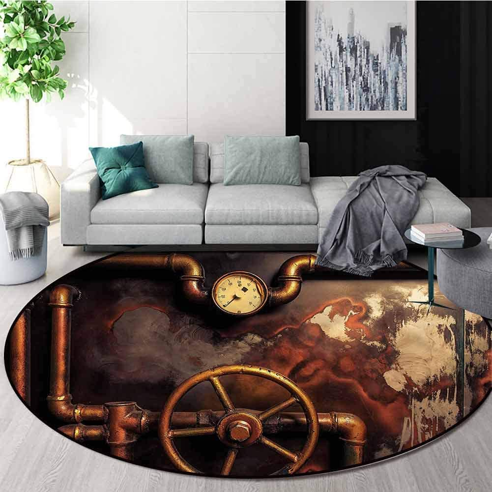 Industrial Modern Simple Round Rug,Steam Pipes Floor Mat Home Decor Round-63