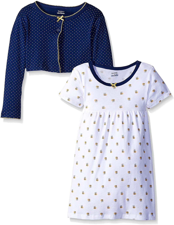 Gerber Baby Girls' 2-Piece Cardigan and Dress Set