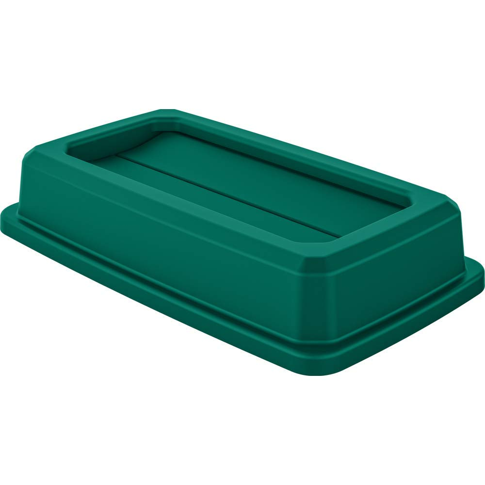 DHgateBasics Double Flip Lid for 23 Gallon Commercial Slim Trash Can, Green, 3-Pack (Renewed)