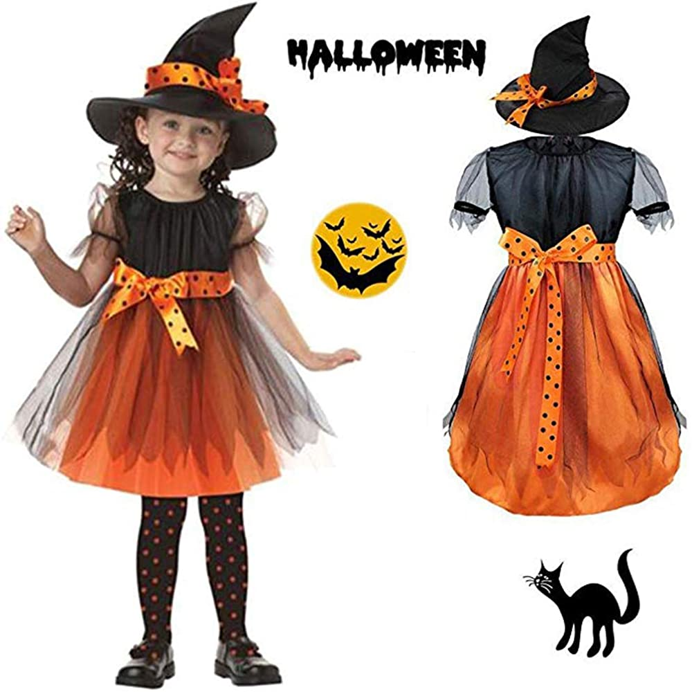 Halloween Clothes Costume Dress Party Dresses and Witch Hat Cool Creative Cute (14-15T) Orange