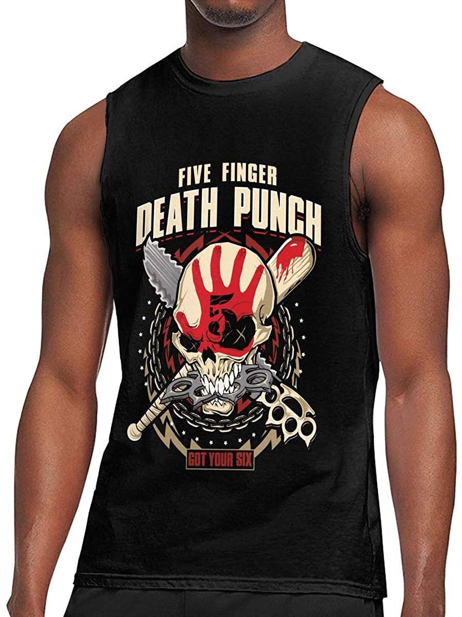 Jamesbaskett Men's Black Summer Round Neck Sleeveless T-Shir Cool Cotton Sleeveless Shirt