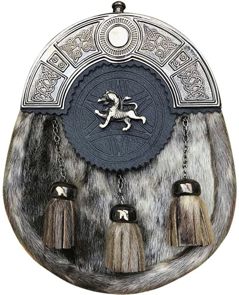 Scottish Kilt Sporrans Seal Skin Lion Rampant Antique Finish/Mens Kilt Sporran