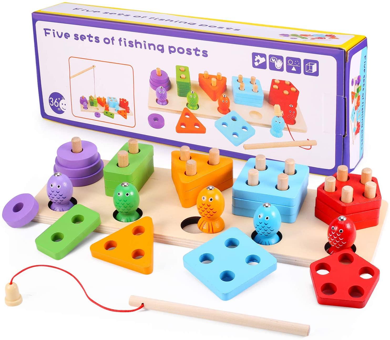 Young for U Wooden Educational Preschool Toddler Toys for 3 4 5 Year Old Boys Girls Shape Color Recognition Geometric Board Blocks Stack Sort Infant Learning Toys for Kids Children (JM5-new Model)