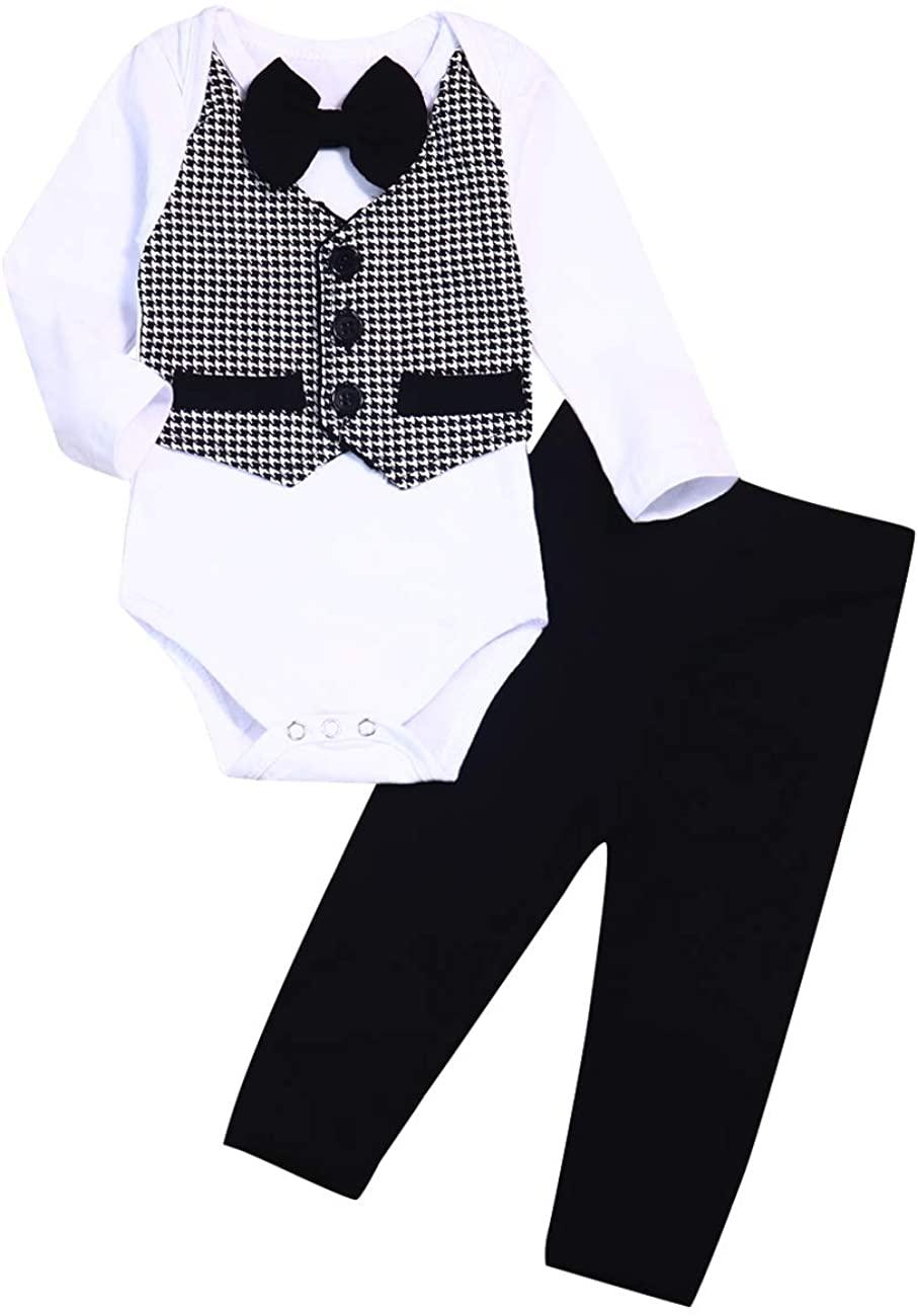 Seyouag Baby Boy Gentleman Outfit Newborn Wedding Clothes Bowtie Tuxedo Formal Suit