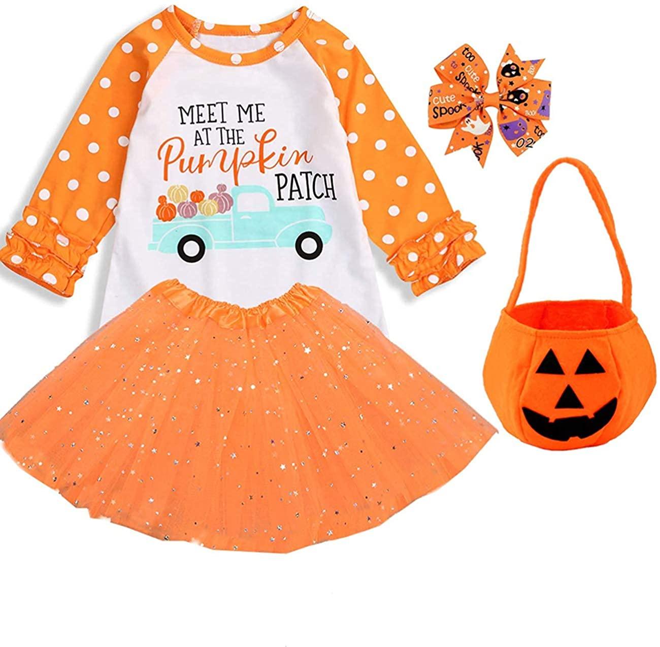 4PCS Baby Girls Halloween Skirt Sets Long Sleeve Cotton Ruffle Top +Tutu Skirt+Pumpkin Bag+Clip Outfits