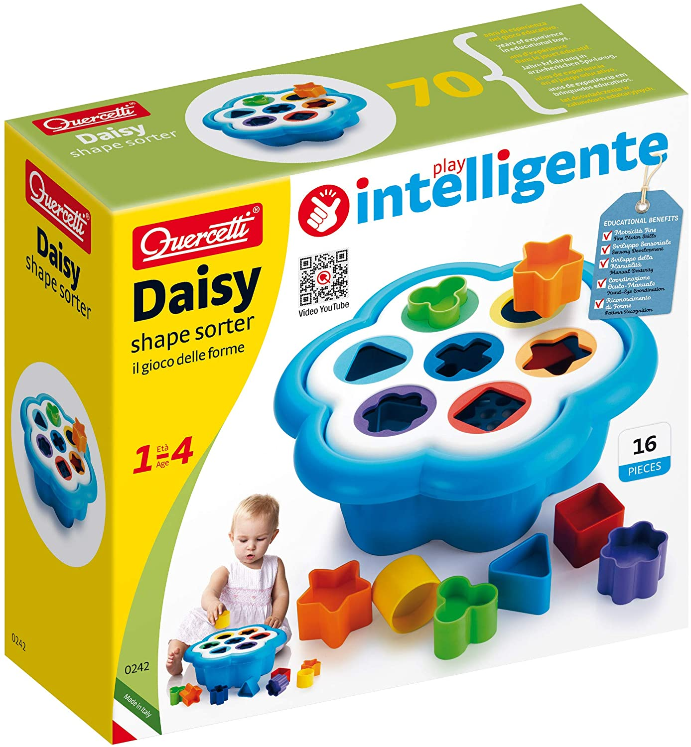 Quercetti Daisy Shape Sorter - Classic 16 Piece Shape and Color Sorting Toy (Made in Italy)