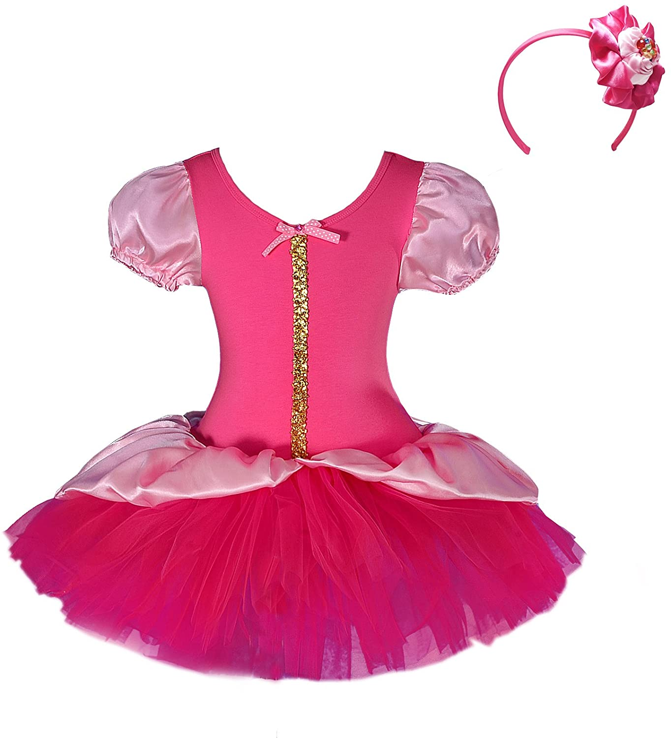 Dressy Daisy Girls Princess Sequin Fairy Costume Fancy Dress + Headband Ballet Tutu Dancewear Size 6-8 Hot Pink