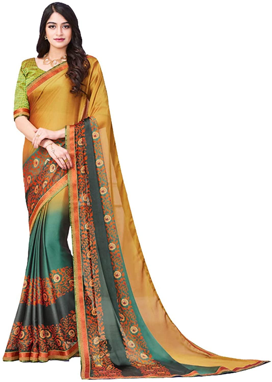 Indian Saree for Women Ethnic Sari Multi Silk Rangoli Georgette Sari with Unstitched Blouse. ICW2741-12