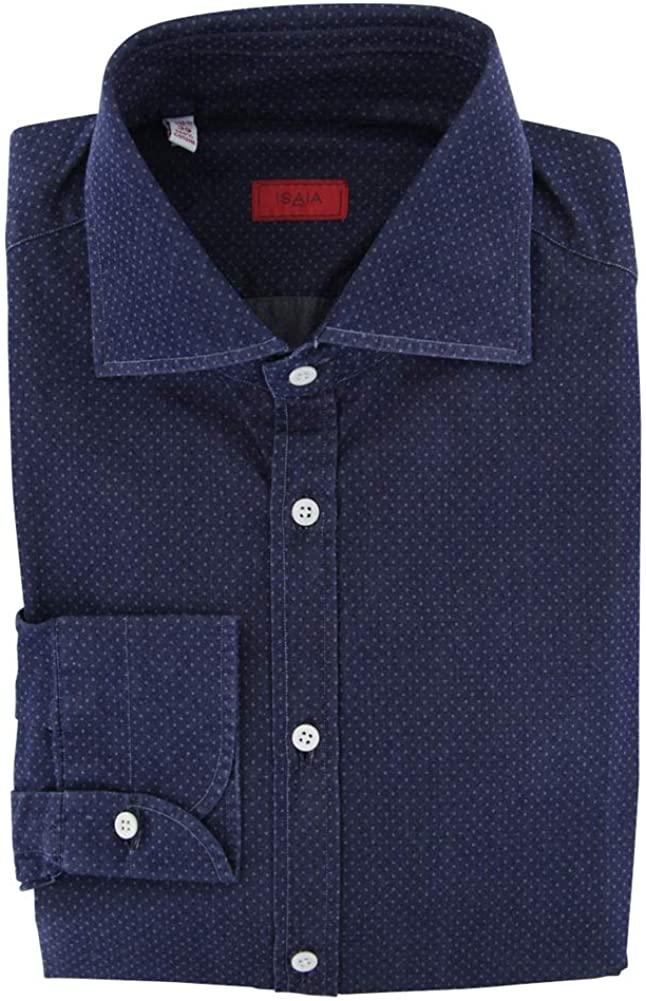 Isaia Stripes Button Down Spread Collar Cotton Slim Fit Dress Shirt