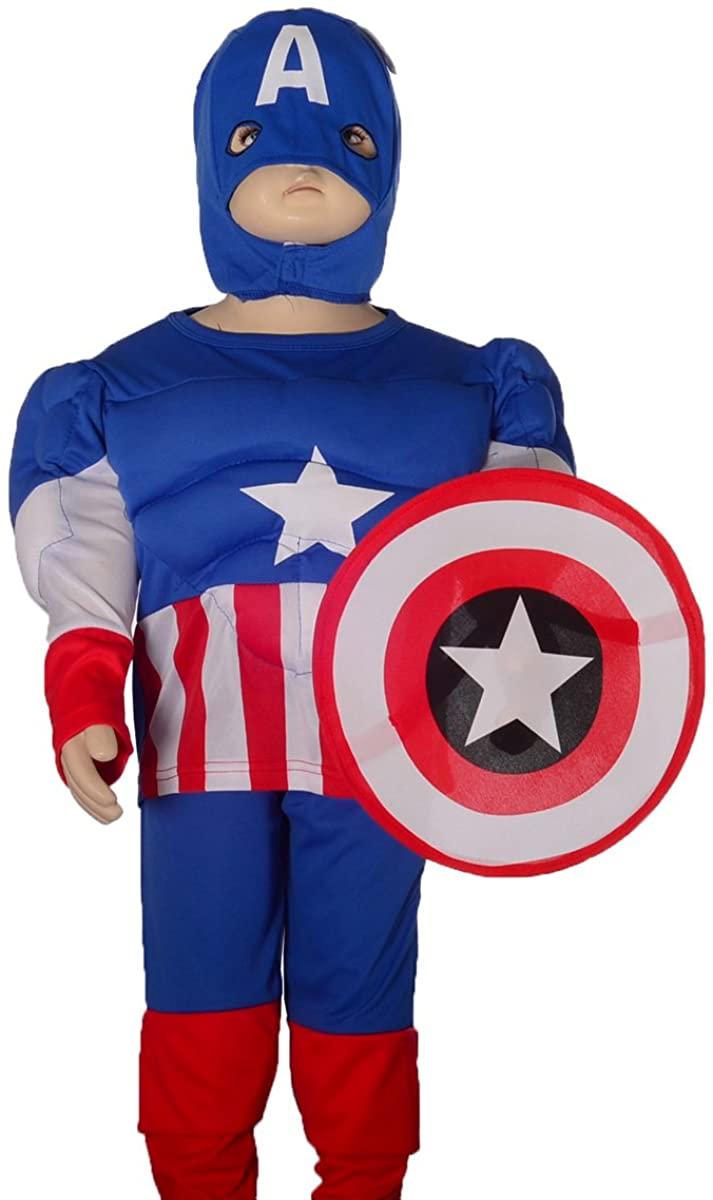 Dressy Daisy Boys Muscle Captain America Superhero Fancy Costume Halloween Party Shield Mask Size 2-7