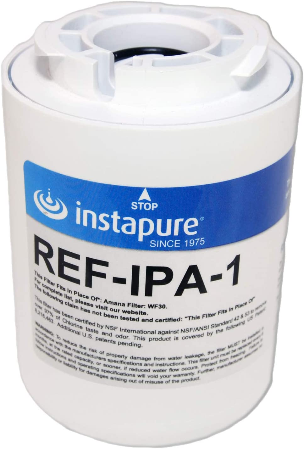 Instapure WF40 USA Made NSF/ANSI 42, 53, P473, 401 for CTO, Lead, PFOA/PFOS, Pharmaceuticals Certified Compatible Refrigerator. Instapure REF-IPA-1 ULTRA filter fits Amana WF30, Kenmore 469904 & more