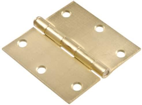 The Hillman Group 851957 3-1/2 Residential Door Hinge - Square Corner - Removable Pin - Full Mortise - Satin Brass 2-Pack (2)