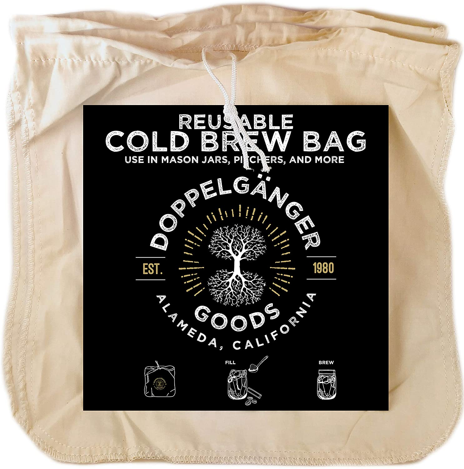 (2-Pack, Large 12in x 12in) Organic Cotton Cold Brew Coffee Bag - Designed in California - Reusable Coffee Filter with EasyOpen Drawstring Cold Brew Maker for Pitchers, Mason Jars, Toddy Systems