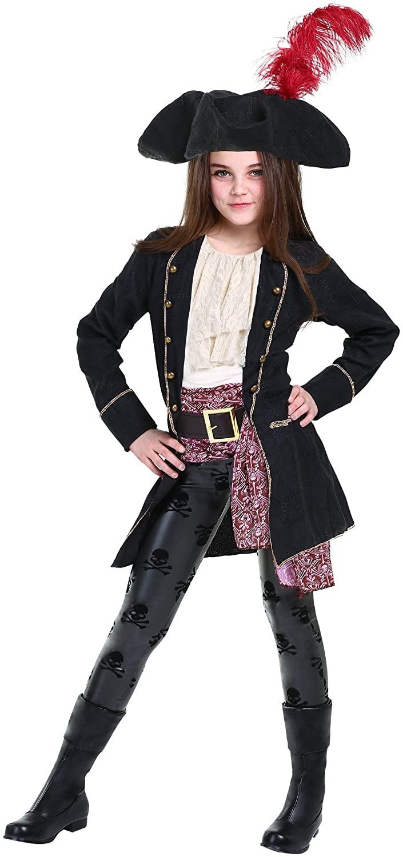 Buccaneer Pirate Costume Girls Dress-Up Pirate Jacket Hat Shirt Pants
