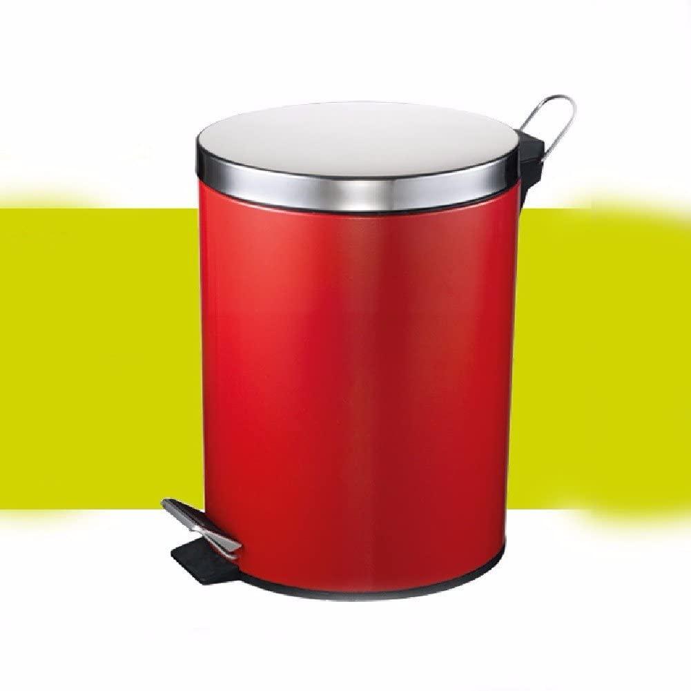 WAWZJ Rubbish Bin Stainless Steel Foot Type Garbage Bin Room Toilet Seat Cover,Gules