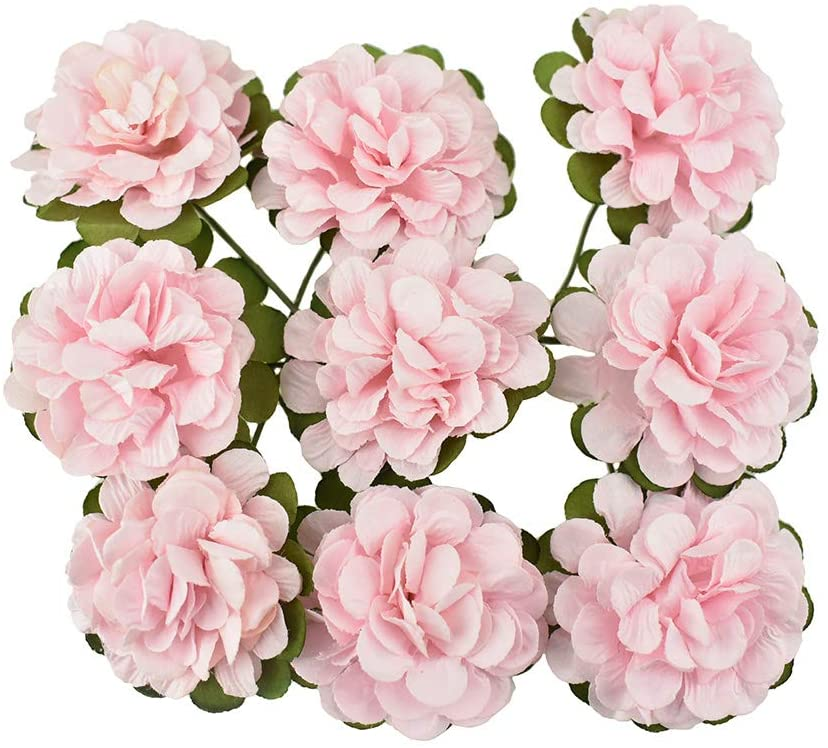 Homeford Paper Flower Embellishments, Pink, 1-1/2-Inch, 9-Count