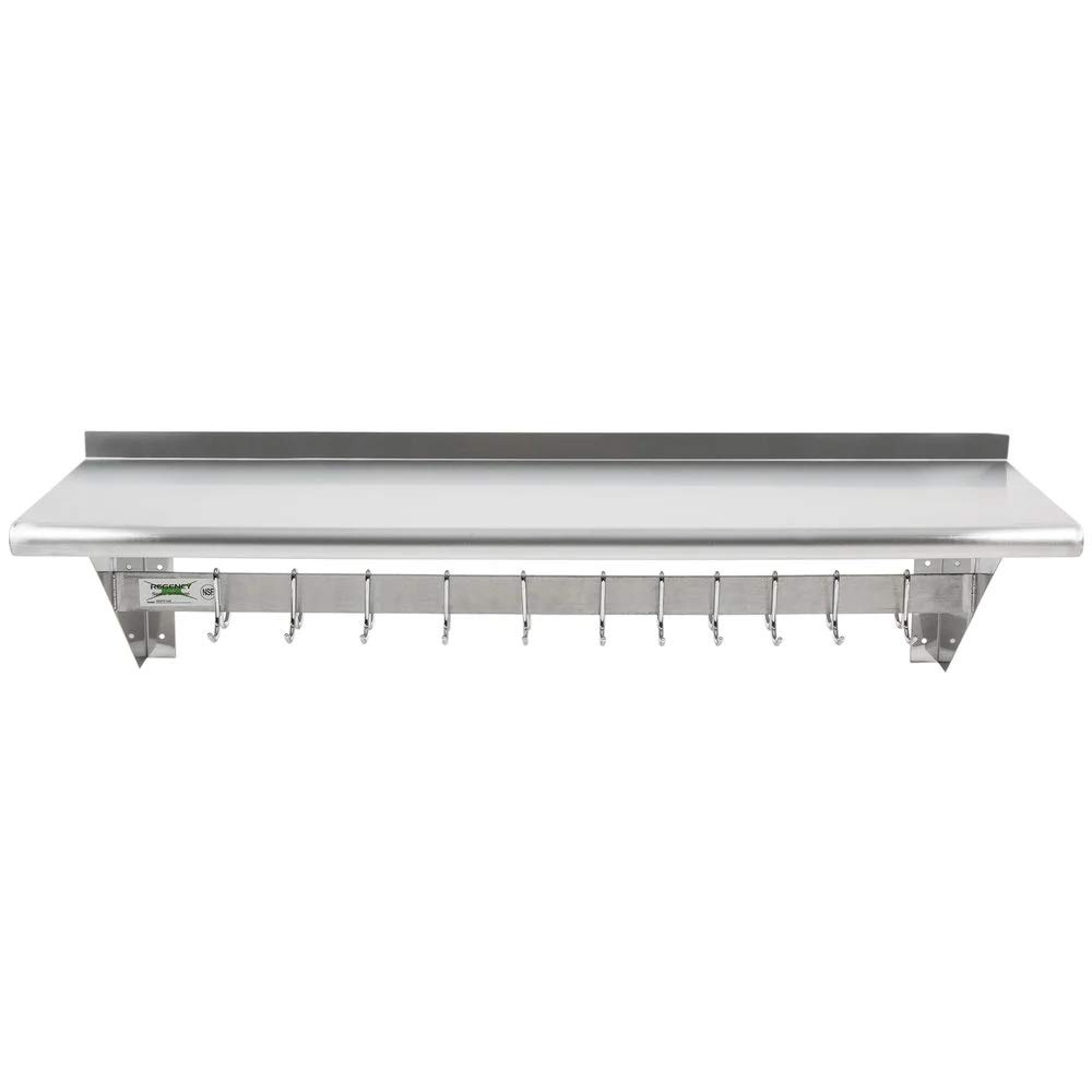Stainless Steel 12 x 48 Inches, 345 lb Shelf - Commercial NSF Wall Mount Floating Shelving with Shelf and 18 Hooks for Restaurant, Kitchen, Home, Bar, Hotel and Garage