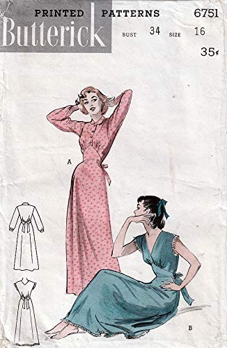 Butterick 6751 ca.1953 Beautiful. Nightgown: Long Sleeves or Sleeveless, Size 16
