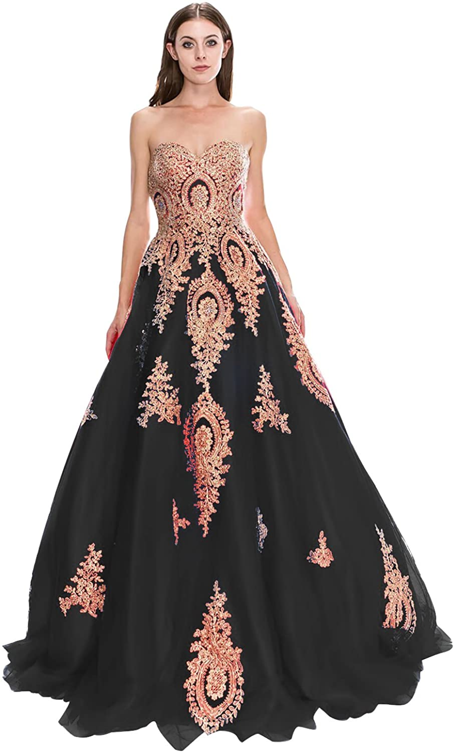 Womens Tulle Strapless Long Evening Dress A Line Applique Formal Prom Gown E138