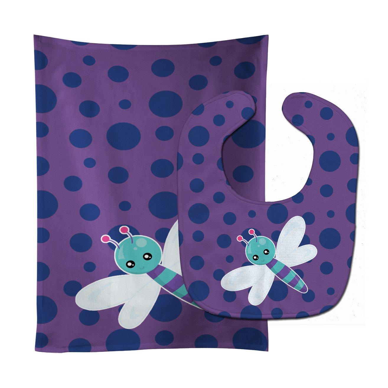 Caroline's Treasures BB7099STBU Dragonfly on Purple Polkadots Baby Bib & Burp Cloth, 11 x 18