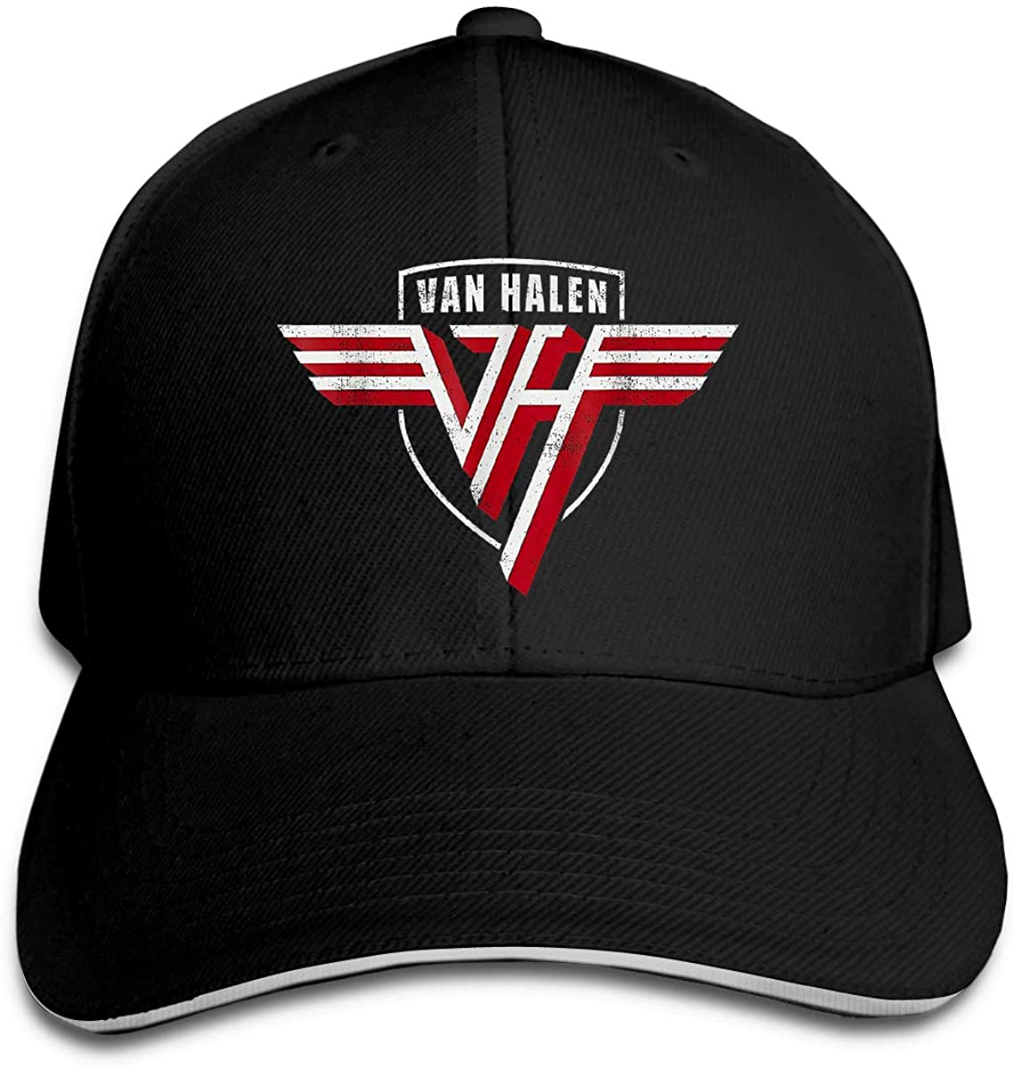 Van Halen Hip Hop Baseball Cap Golf Trucker Baseball Cap Adjustable Peaked Sandwich Hat Black Unisex Casquette Black