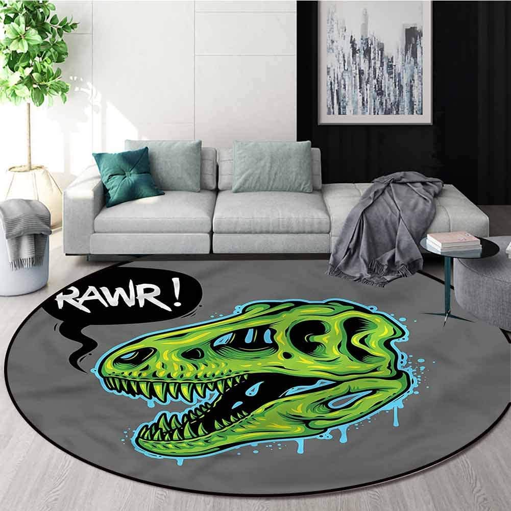 Dinosaur Round Rugs for Bedroom,Rawr Text Speech Bubble Non-Slip Living Room Soft Floor Mat Round-63