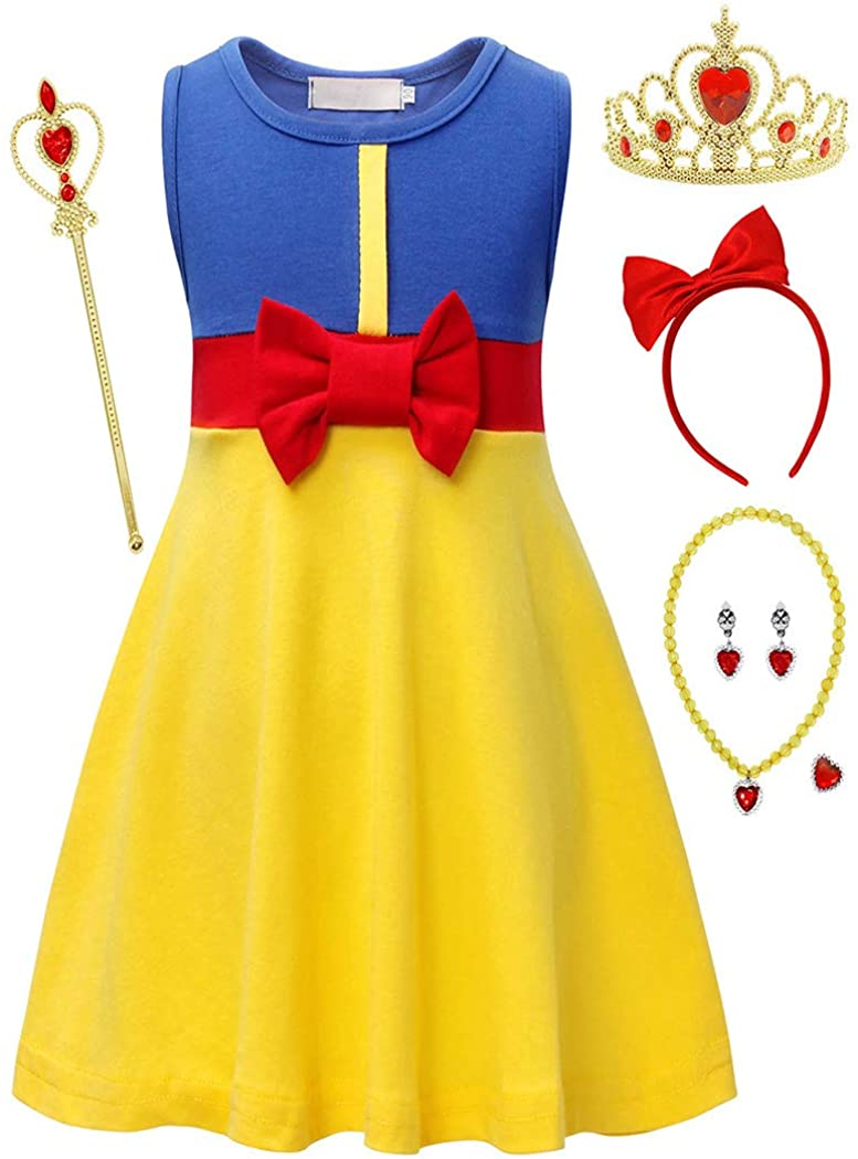 HenzWorld Little Girls Costume Princess Dress Christmas Birthday Party Tank Tops Patchwork Cosplay Outfits 1-8 Years